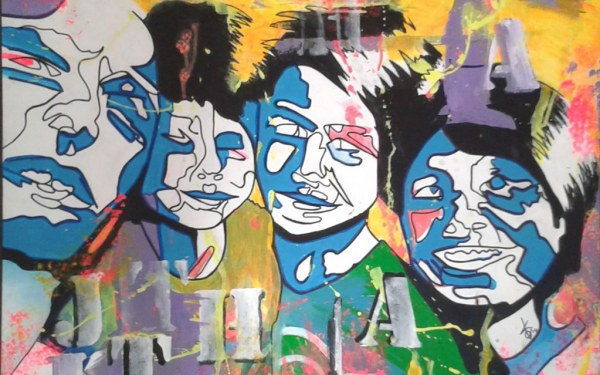 familie portret 90×70 acryl op doek